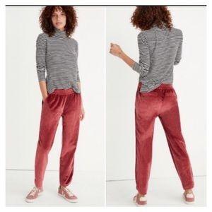Madewell Pants Joggers Velvet Cabernet Red H2647